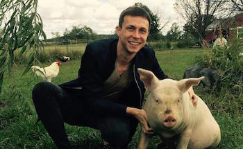 Nathan Runkle with Farm Animals