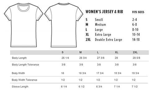 Sizing chart for 'Love & Kindness' T