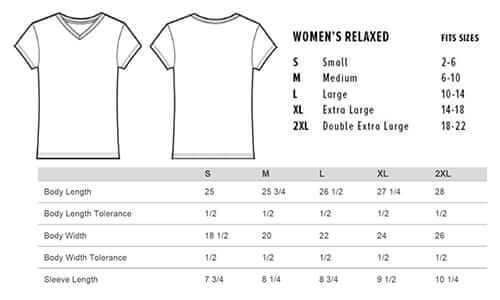 Sizing chart for 'Love Animals' V-neck