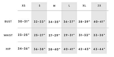 Sizing chart for 'Love' Notions T