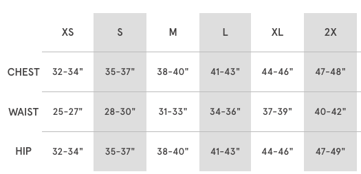Sizing chart for Logo Fleece Bomber