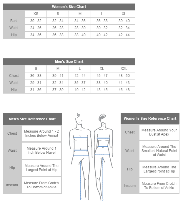 Sizing chart for 'Love' T