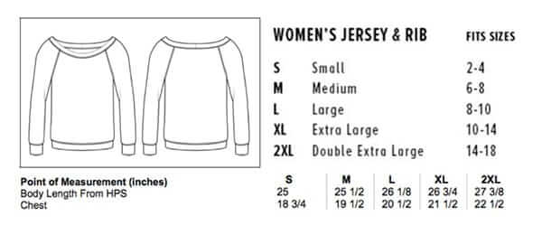Sizing chart for 'Dream' Women's Sweatshirt